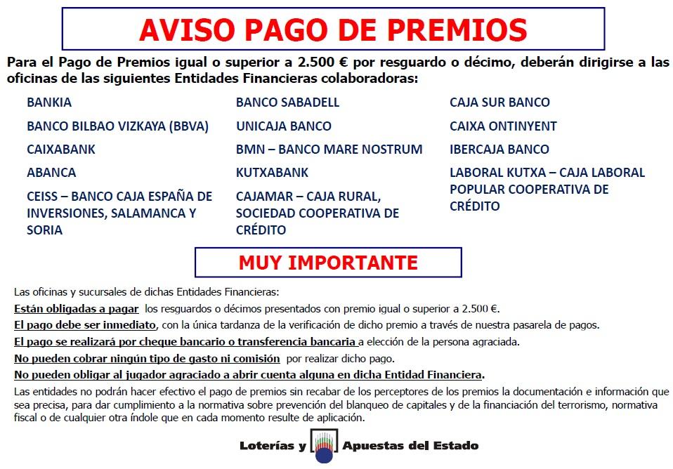 AVISO PAGO DE PREMIOS LOTERIAS Y APUESTAS DEL ESTADO