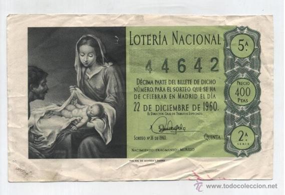 DECIMO DE LOTERIA AÑO 1960